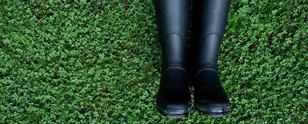 Gummistøvler på græsplæne. Skal kastes til teambuilding øvelsen Chucking Wellies